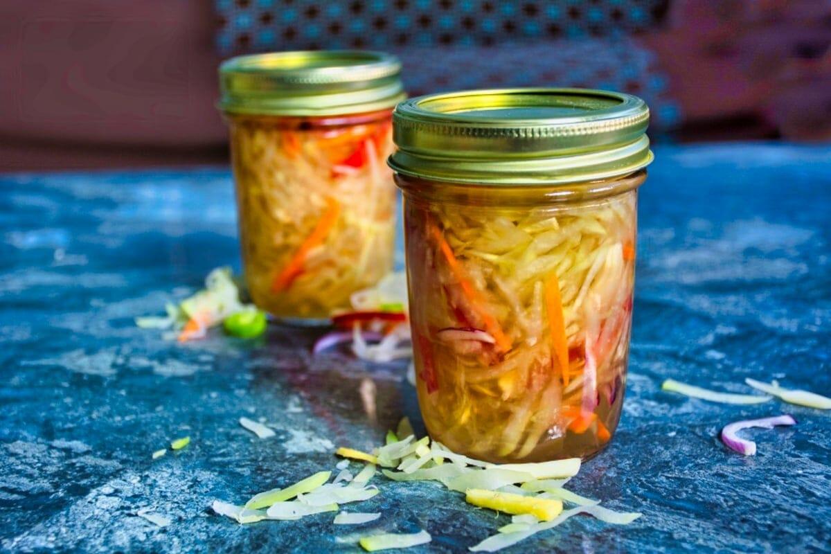 atchara jars on table