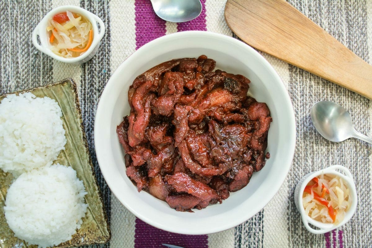 Tocino With Steamed White Rice And Atchara