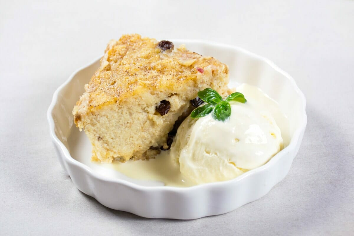 Bread Pudding Slice With Ice Cream