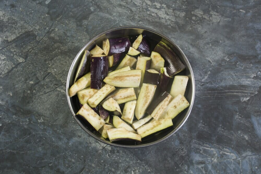 Step 1 Chop The Eggplants