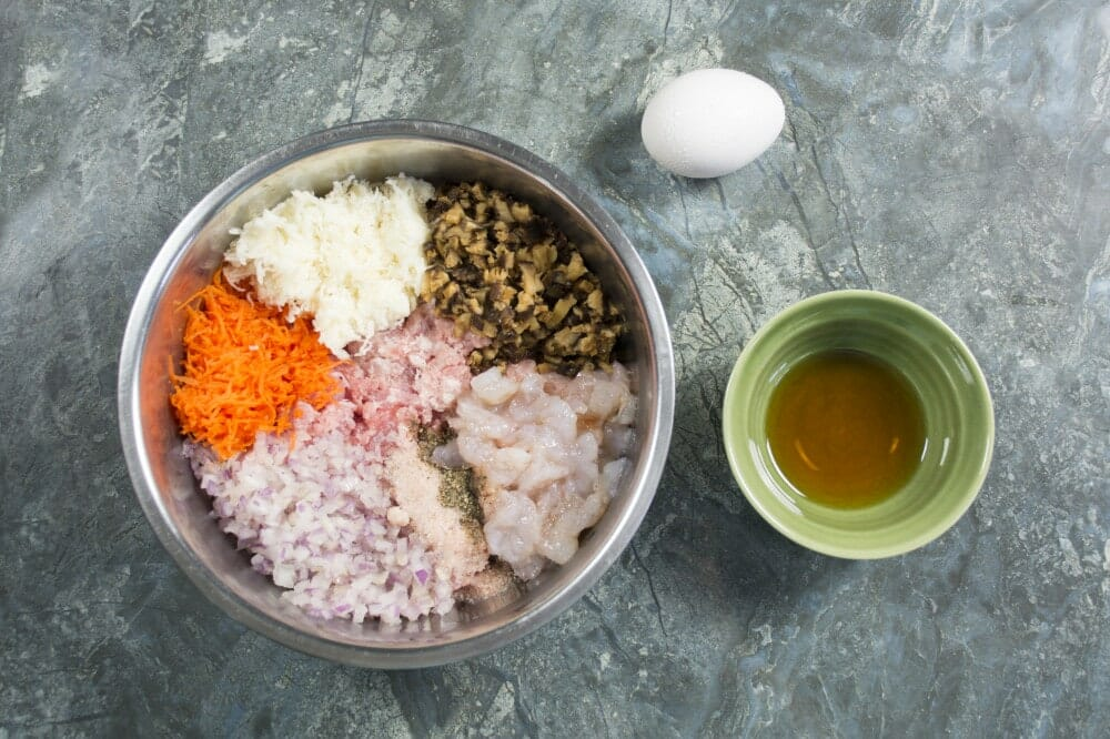 Step 1 Mix Pork Shrimp And Ingredients