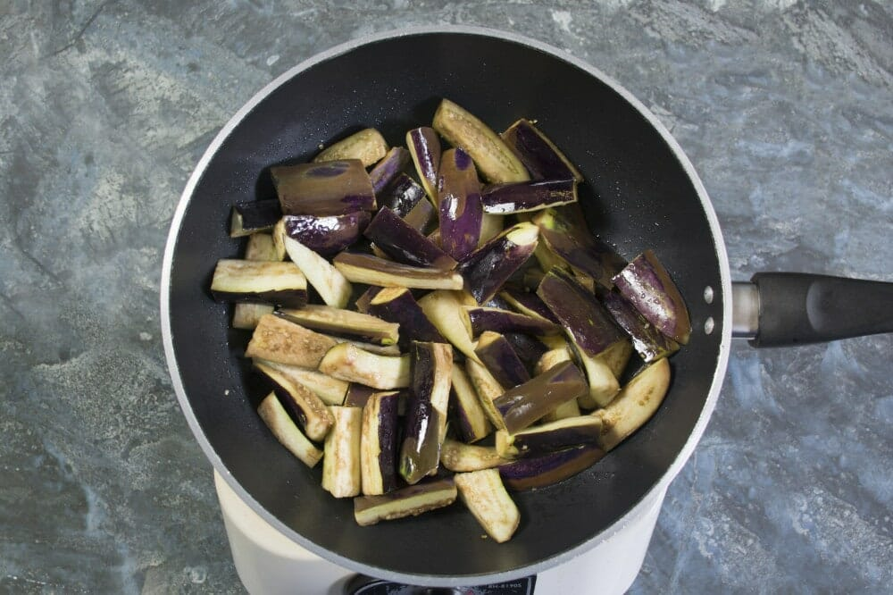 Step 2 Fry Aubergine In Oil Until Soft And Brown