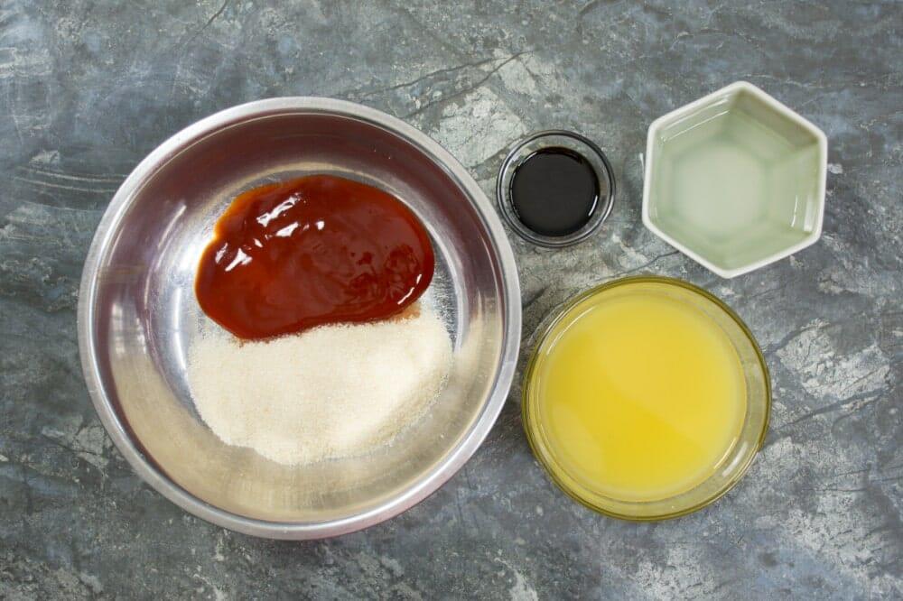 Step 1 Combine Ketchup Sugar Soy Vinegar Juice